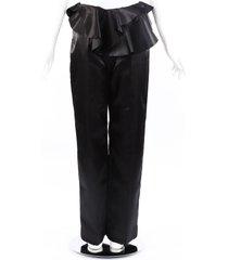 designers, remix dex black satin ruffle pants black sz: xs
