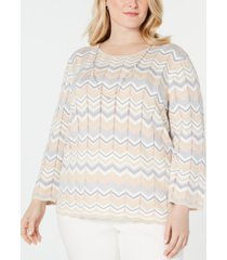 alfred dunner plus size boardroom metallic chevron necklace sweater
