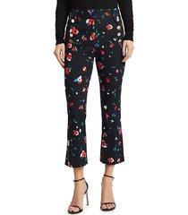 derek lam women's floral high-rise cropped pants - black - size 0