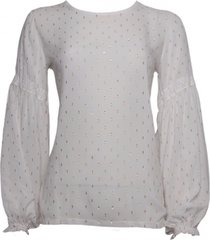 20 to a9343 041 blouse - pois lurex latte wit