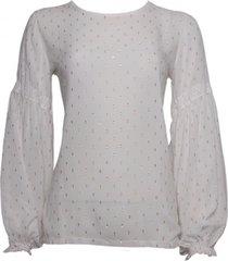 20 to a9343 041 blouse - pois lurex latte wit