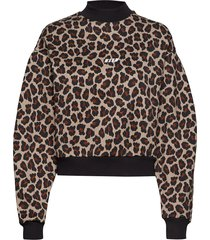 animalier printed cotton fleece sweatshirt sweat-shirt trui bruin msgm