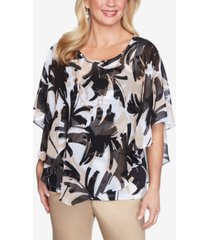 alfred dunner brushstroke leaves flutter woven top with detachable necklace