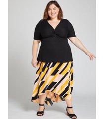 lane bryant women's geo textured high-low skirt 18/20 geometric