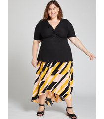 lane bryant women's geo textured high-low skirt 18/20 geometric