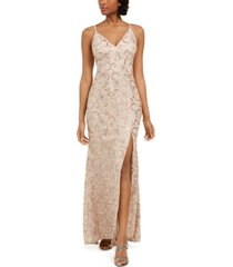 vince camuto petite embroidered lace gown