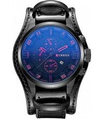 reloj cuarzo analogico lujo hombre cuero curren 8225 negro