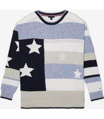 tommy hilfiger women's adaptive stars & stripes sweater bright white multi - m