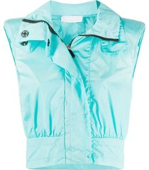 no ka' oi cropped hooded gilet - blue