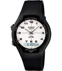 reloj casual casio aw-90h-7b- negro  envio gratis*