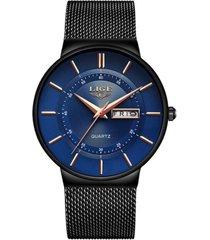 reloj cuarzo lige 9949 hombre lujo negro azul