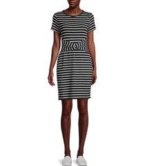 tommy hilfiger women's stripe t-shirt dress - black ivory - size s