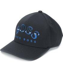 boss hugo boss logo print baseball cap - black