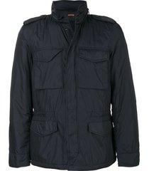aspesi zipped multi-pocket jacket - blue