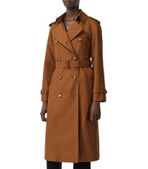 women's burberry waterloo relaxed fit cotton trench coat, size 10 - brown