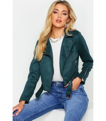 premium faux suede biker jacket, bottle green