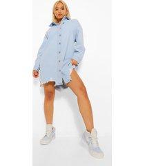 petite versleten spijkerblouse jurk, lichtblauw