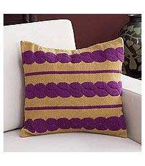 alpaca blend cushion cover, 'mulberry braids' (peru)