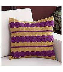 alpaca blend cushion cover, 'mulberry braids' (peru)