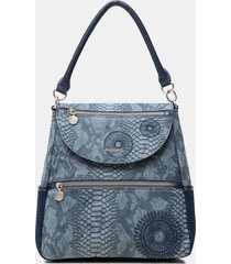 medium embossed leather effect backpack - blue - u