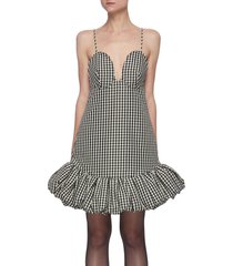 'sienna' gingham print flounce hem sleeveless mini dress