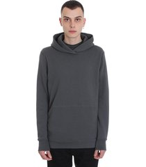 john elliott hooded villan sweatshirt in grey cotton