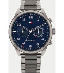tommy hilfiger men's gunmetal bracelet watch blue/gunmetal -
