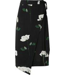 osklen rose glitch wraparound skirt - black