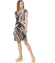 vestido c/v estampado rojo negro bous