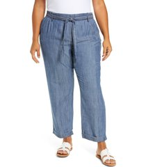 plus size women's caslon tie waist chambray crop pants