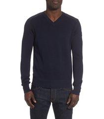 men's canada goose mcleod v-neck regular fit merino wool sweater, size medium - blue