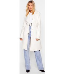 womens white belted trench coat with square buckle closure