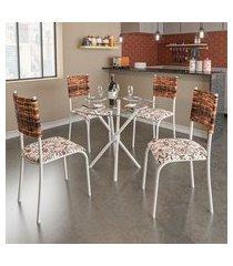 conjunto de mesa com tampo de vidro e 4 cadeiras istambul i branco e junco