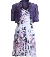 connected floral-print 2-pc. chiffon jacket and dress