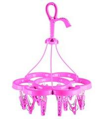 mini varal em plástico com 16 pregadores rosa