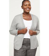 lane bryant women's 3/4-sleeve modern cardigan 26/28 medium heather grey