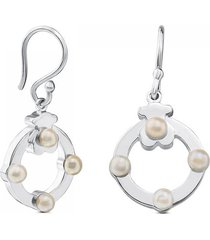 aretes super power de plata con perlas