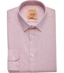 joe joseph abboud men's repreve® burgundy red check slim fit dress shirt - size: 15 1/2 32/33
