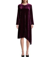 eileen fisher women's velvet asymmetric long-sleeve dress - raisn - size xs