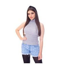 blusa cacharrel moda vício regata gola alta tricô mescla