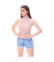 blusa cacharrel moda vício regata gola alta tricô rosa