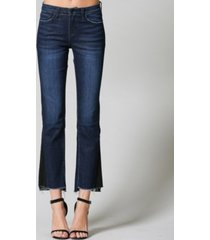 flying monkey mid rise step hem contrasted side panel crop mini flare jeans