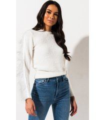 akira walk to the bank ostrich trim sweater