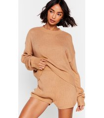 womens luxe like fun sweater and shorts lounge set - oatmeal