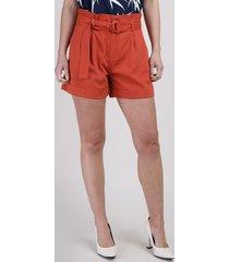 short de sarja feminino clochard cintura alta com cinto laranja