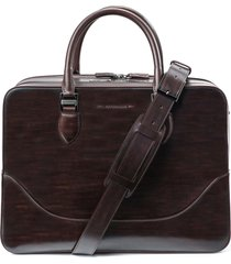 magnanni large leather briefcase - brown