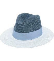 emporio armani woven fedora hat - blue