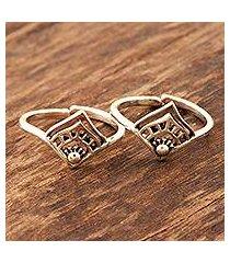 sterling silver toe rings, 'diamond tiara' (pair) (india)