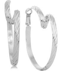 essentials twisted omega hoop earrings in fine silver-plate