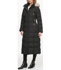 dkny faux-fur trim hooded maxi puffer coat